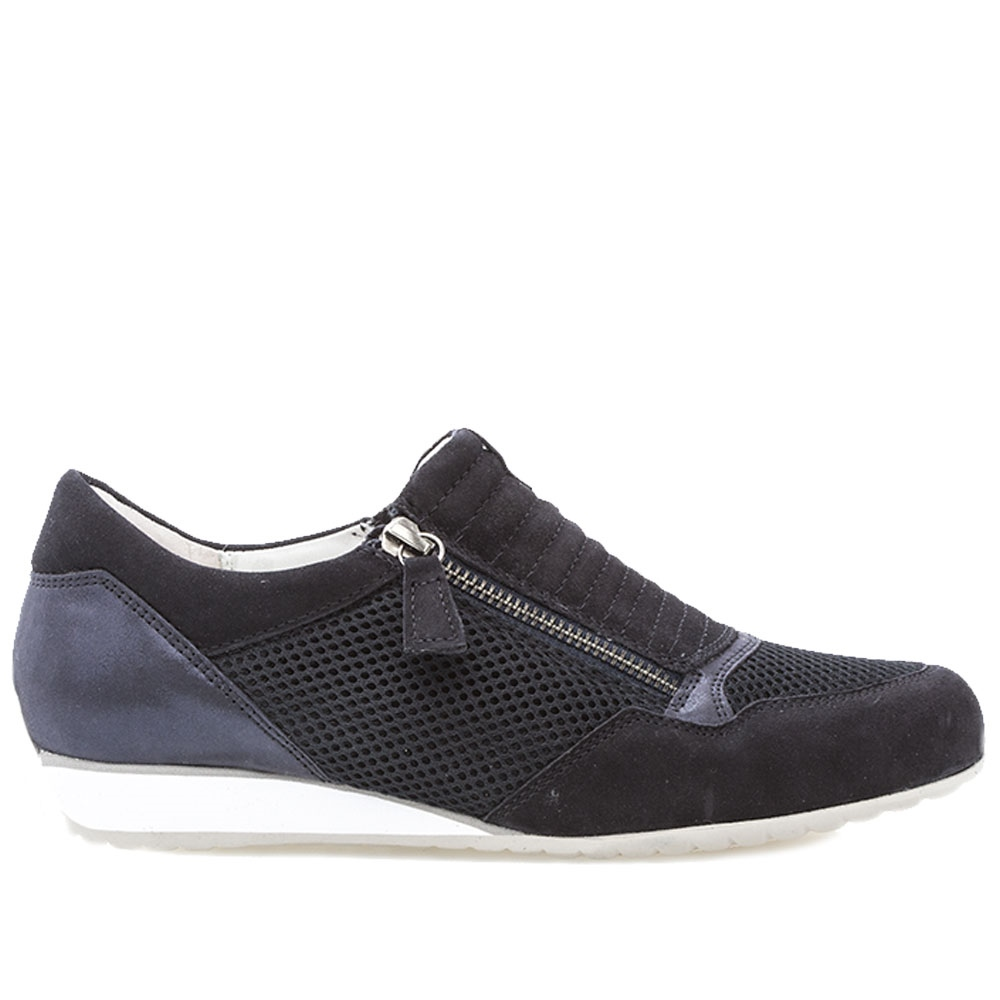 Gabor 'Optifit' Zip-Up Mesh Detail Trainers - Atlantic 1