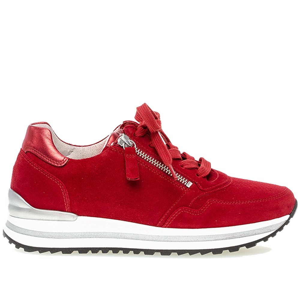Gabor 'Optifit' Zip Detail Suede Trainers - Ruby 1
