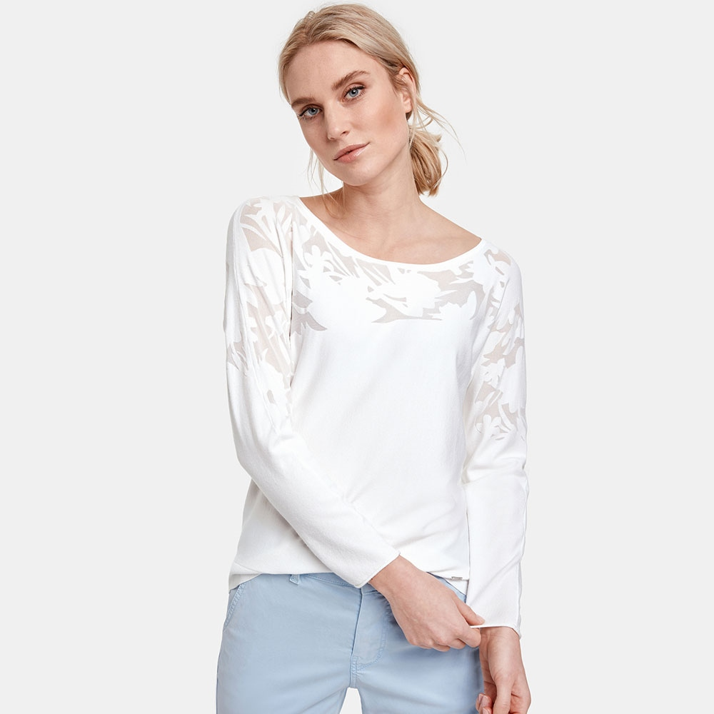 Taifun Floral Burnout Jumper - Off White 1