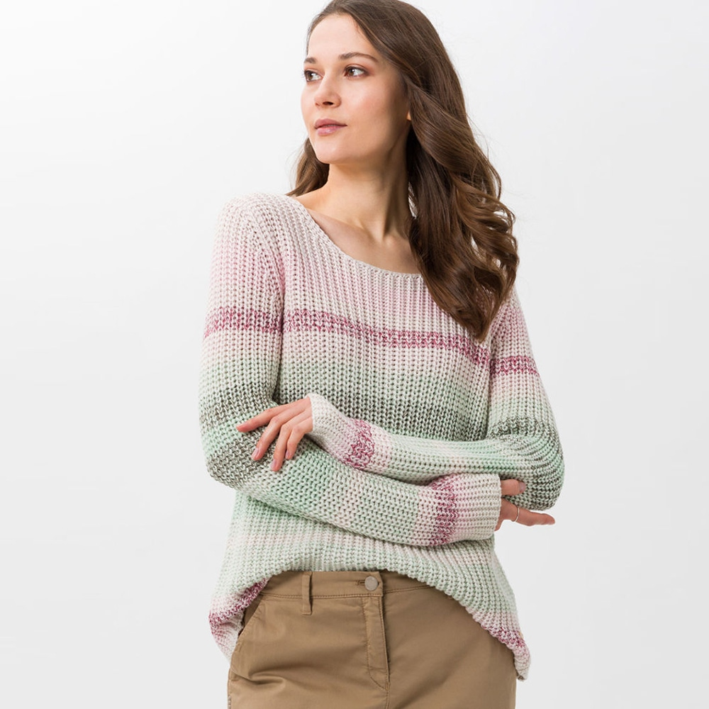 Brax 'Lisa' Striped Chunky Knit Jumper - Rose 1