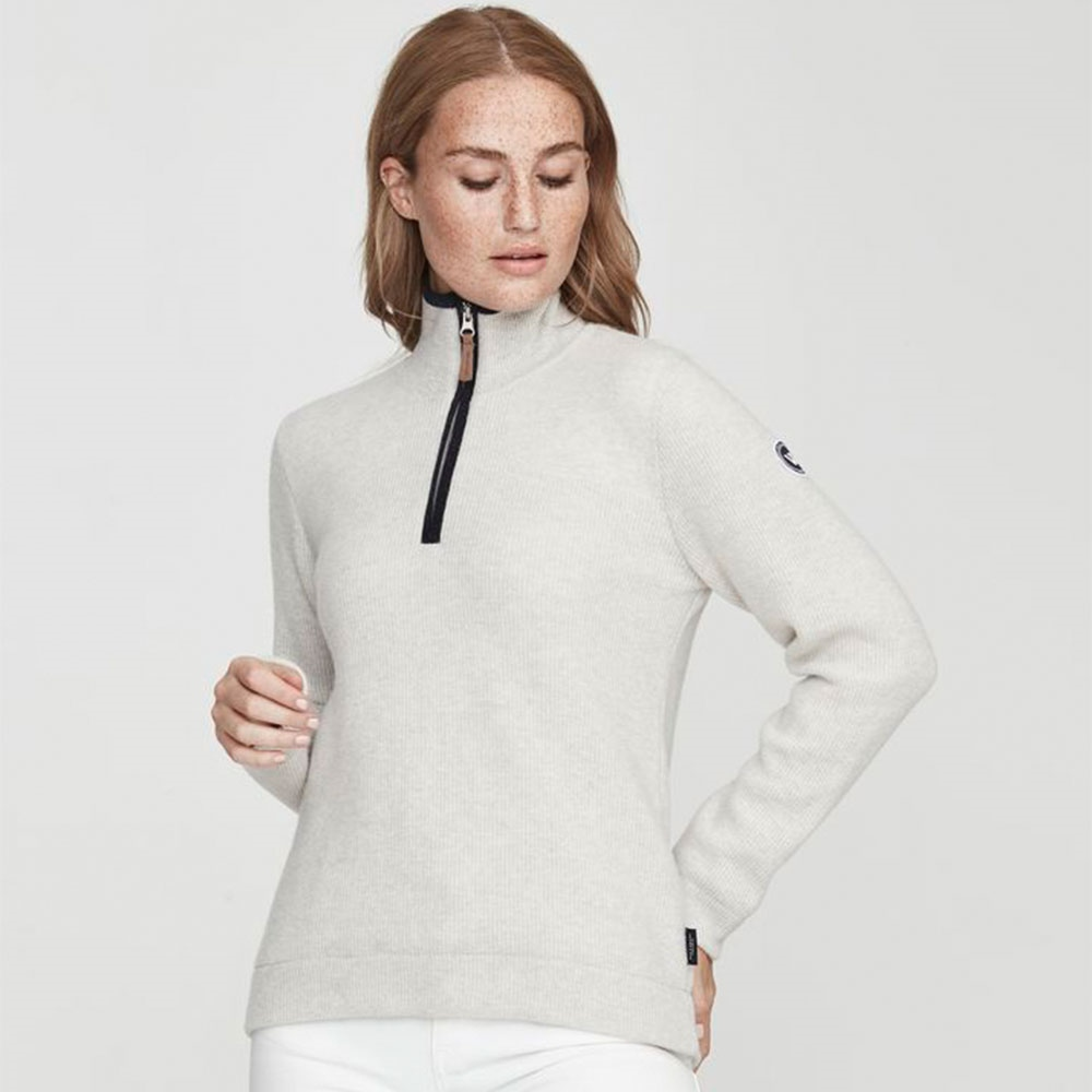 Holebrook 'Agnes' Wool Windproof Jumper - Light Grey Melange 1