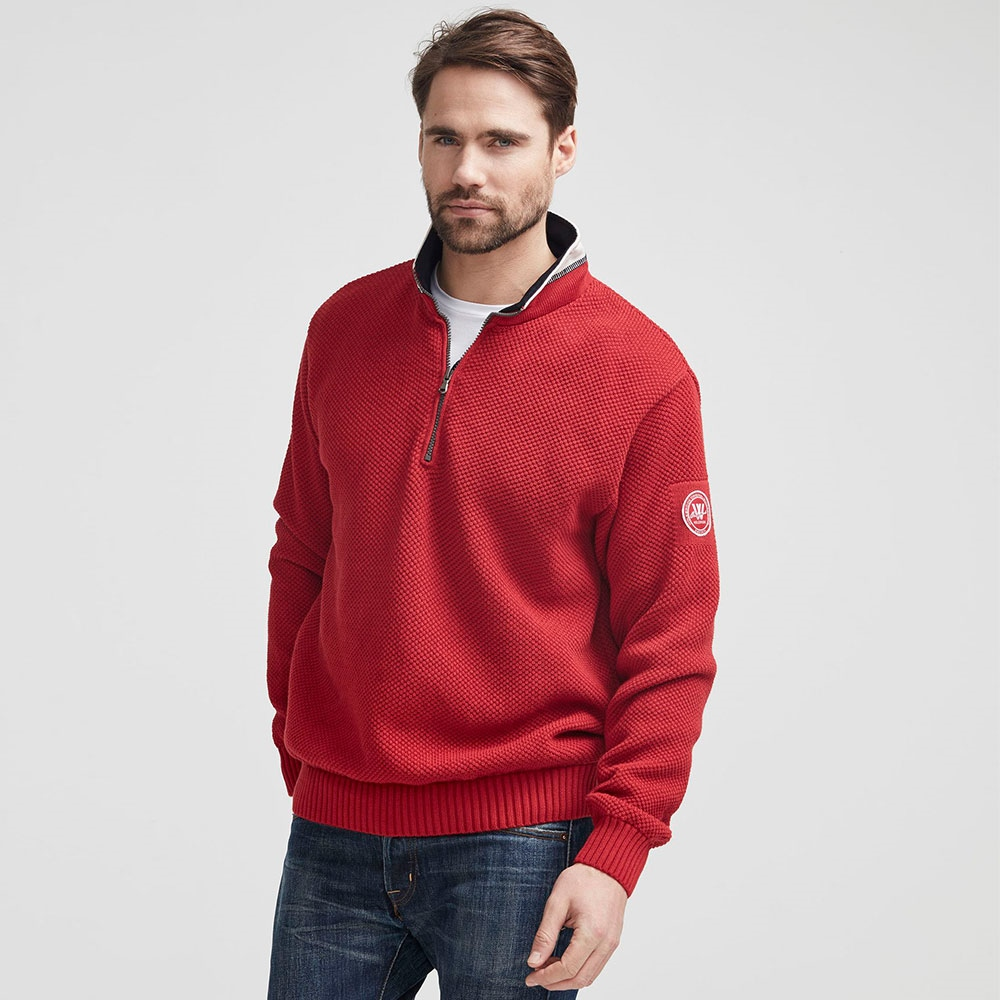 Holebrook 'Classic' 100% Cotton Windproof Jumper - Red 1